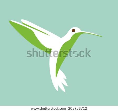 Hummingbird stylized simplistic graphic symbol - stock vector
