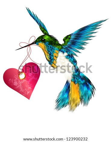 Hummingbird with pink heart for valentines design - stock vector