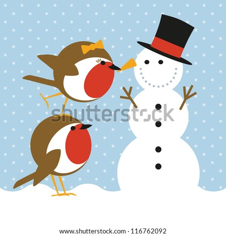 humorous christmas card with cute robins putting a nose on a snowman - stock vector