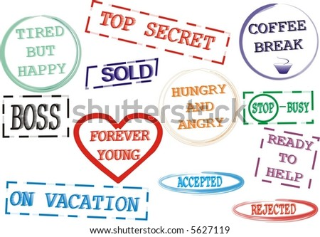 Humorous office stamps - stock vector