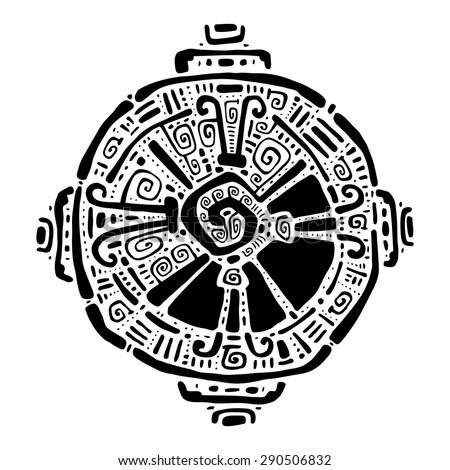 Hunab Ku  Mayan symbol. Hand Drawn detailed pattern. - stock vector