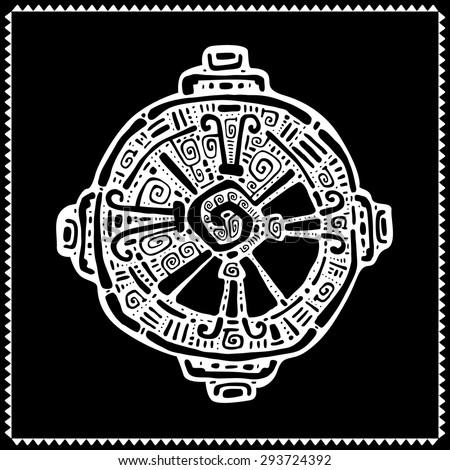 Hunab Ku  Mayan symbol. Hand Drawn detailed pattern. - stock vector