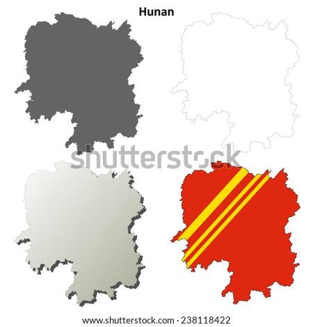 Hunan blank outline map set - stock vector