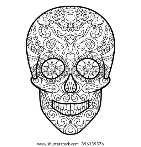 hunan skull coloring book for adults vector illustration anti stress coloring for adult - Cinco De Mayo Skull Coloring Pages