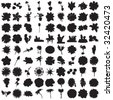 Hundred Flower Silhouettes - stock vector