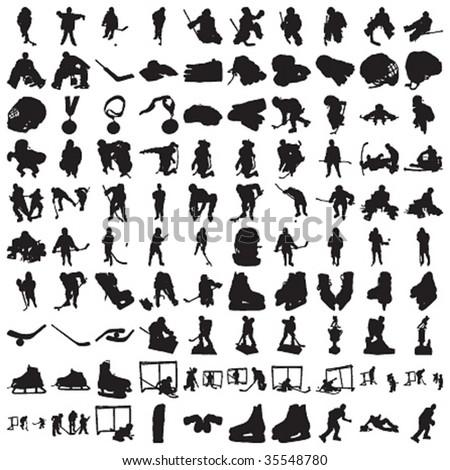 Hundred Hockey Silhouettes - stock vector