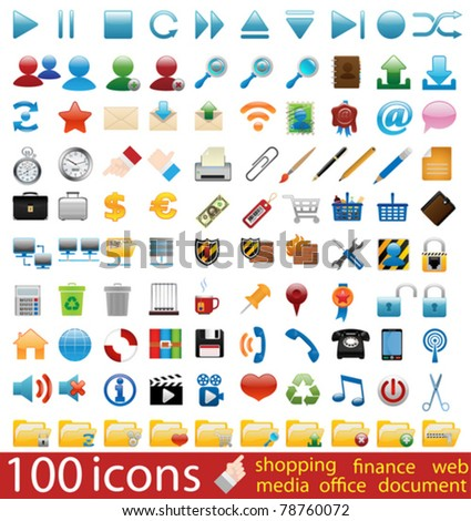 Hundred shiny vector Icons for Web Applications. Web, business, media, shopping, finance, internet.