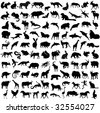 Hundred silhouettes of wild animals, birds and reptiles - stock vector