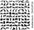 Hundred silhouettes of wild animals from Africa - stock vector