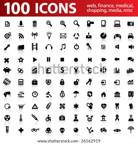 Hundred vector Icons for Web Applications. Web, medical, media, shopping and other.