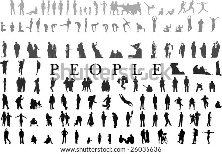 hundreds of people silhouettes collection(vectors) - stock vector
