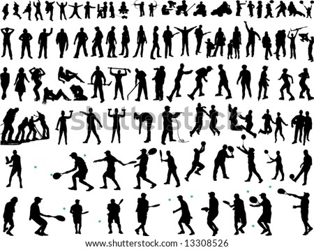 hundreds of people silhouettes (vectors)