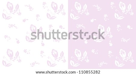 Hungarian flowers design,traditional folk pattern on pink and white background