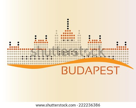 Hungarian Parliament (The Parlament) building at Budapest, dotted style illustration - stock vector