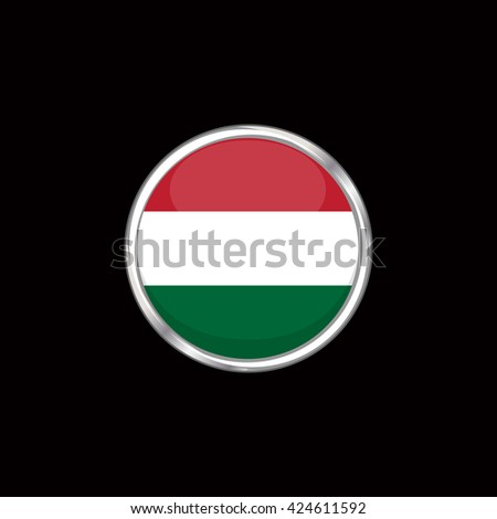 Hungary flag isolated on black background. Hungary flag button in silver ring. Euro cup 2016 France. Hungary participant, group F. Euro 2016 football championship. Eurocup, euro cup. Fifa world cup - stock vector