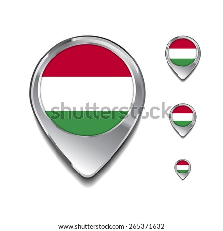 Hungary flag map pointer. 3d Map Pointer with flag glossy button style on gray background