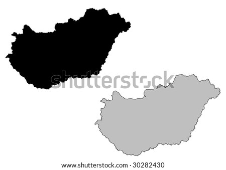 Hungary map. Black and white. Mercator projection. - stock vector