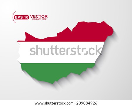 Hungary map with shadow effect