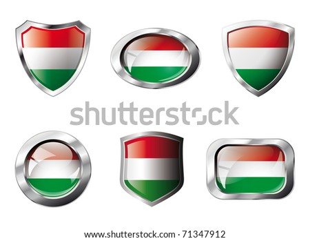 Hungary set shiny buttons and shields of flag with metal frame - vector illustration. Isolated abstract object against white background.