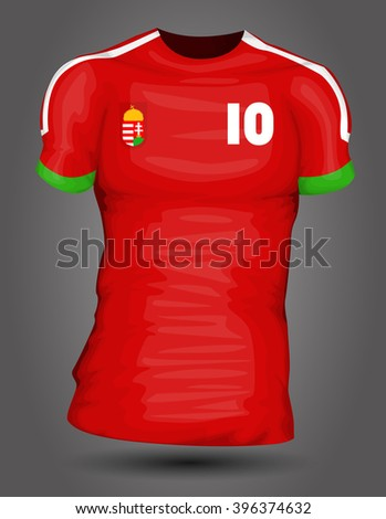 Hungary soccer jersey - stock vector