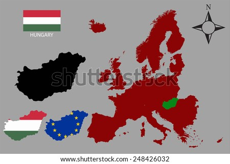 Hungary - Three contours, Map of Europe and flag vector