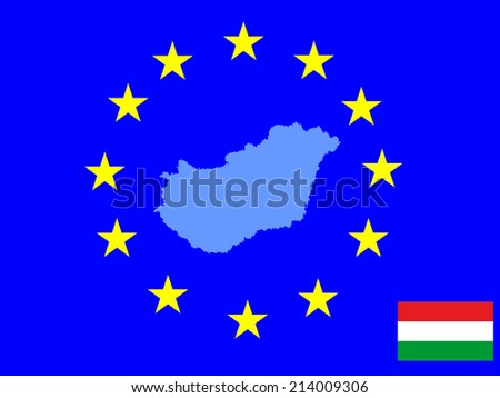 Hungary vector map and vector flag isolated on EU background. High detailed illustration. - stock vector