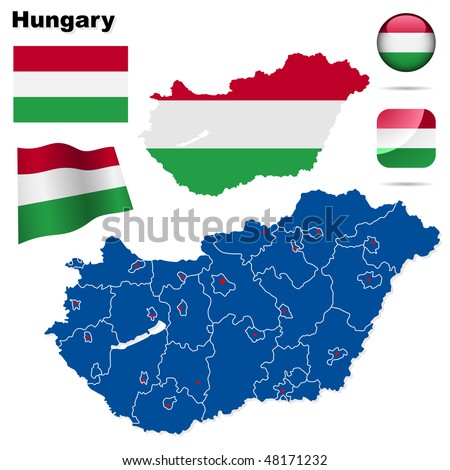 Hungary vector set. Detailed country shape with region borders, flags and icons isolated on white background. - stock vector
