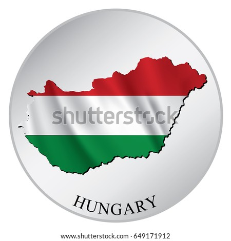 Hungary vector sticker with flag and map label round tag with country name