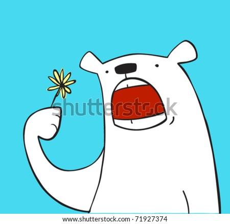 hungry bear eats the flower - stock vector