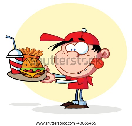 Hungry Boy Staring At Plate of fast food - stock vector