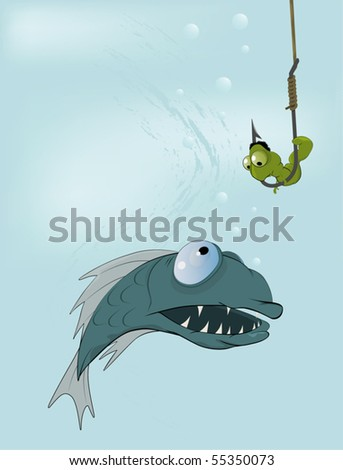 Hungry fish and clever worm. A fairy tale of my mum - stock vector