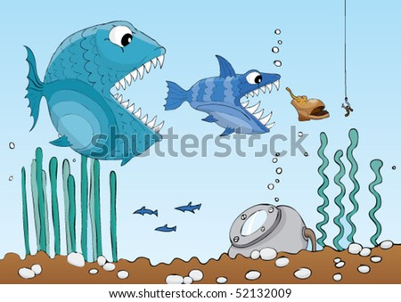 Hungry fish in their natural habitat cartoon stile illustration - stock vector