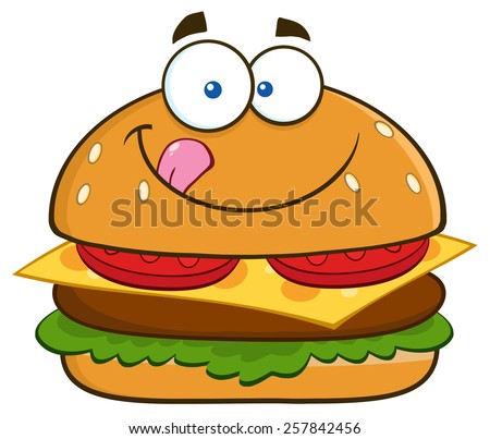 Hungry Hamburger Cartoon Character Licking His Lips. Vector Illustration Isolated On White - stock vector