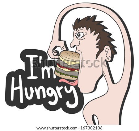 Hungry man - stock vector