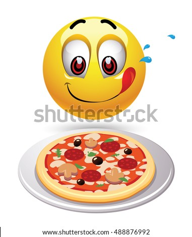 Hungry smiley looking at tasty pizza. Humoristic illustration of food loving smiley.