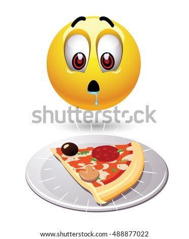 Hungry smiley looking at tasty pizza. Humoristic illustration of food loving smiley. Vector illustration.