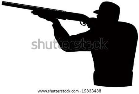 Hunter aiming a rifle - stock vector
