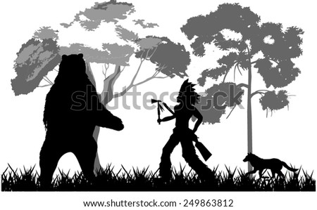 Hunter fighting with Bear - stock vector