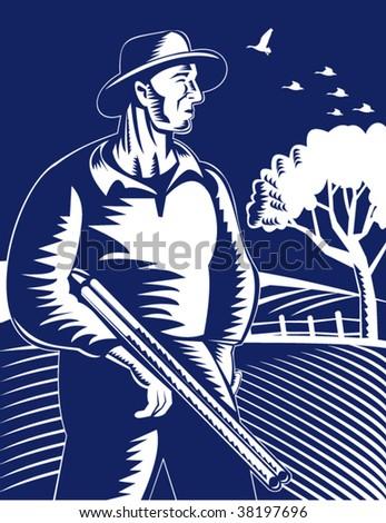 Hunter or farmer carrying a shotgun rifle - stock vector