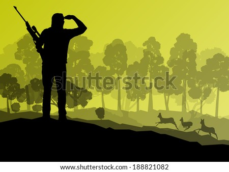 Hunter silhouette background landscape vector concept with forest and deer in it - stock vector