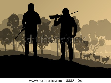 Hunter silhouette background landscape vector concept with forest and deer in it