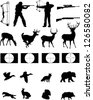 Hunters and the hunted silhouettes collection,hunters, wildlife,weapons with site scopes. - stock