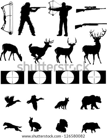 Hunters and the hunted silhouettes collection,hunters, wildlife,weapons with site scopes. - stock vector