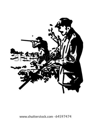 Hunters - Retro Clipart Illustration