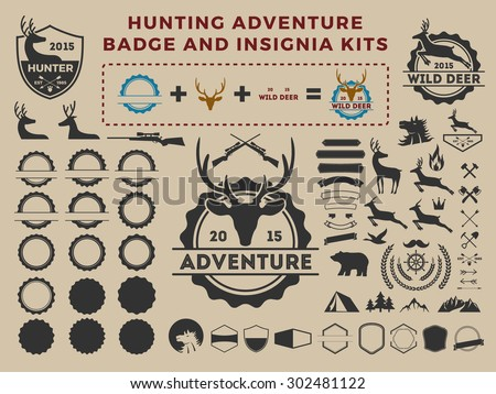 Hunting and adventure badge logo element kits for creator. camping vector illustration design  - stock vector