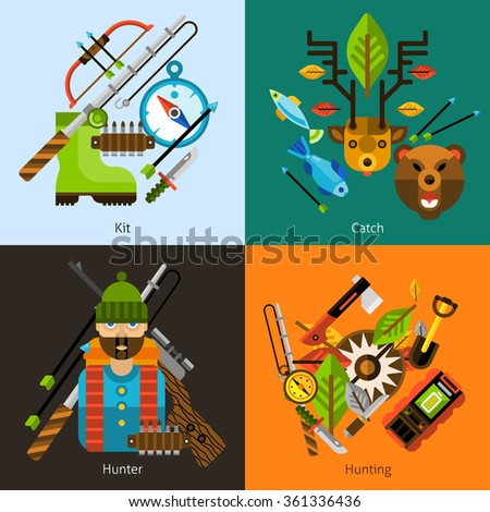 Hunting and fishing design concept set with hunter and outdoor activity equipment flat icons isolated vector illustration
