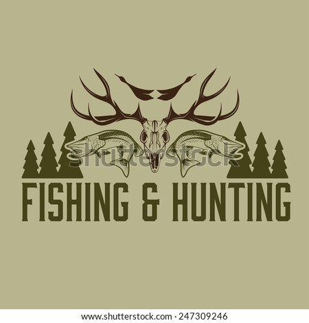 hunting and fishing vintage emblem vector design template - stock vector