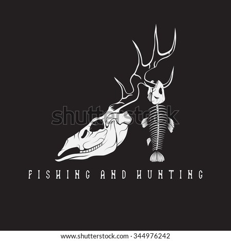 hunting and fishing vintage emblem with skulls of animals - stock vector