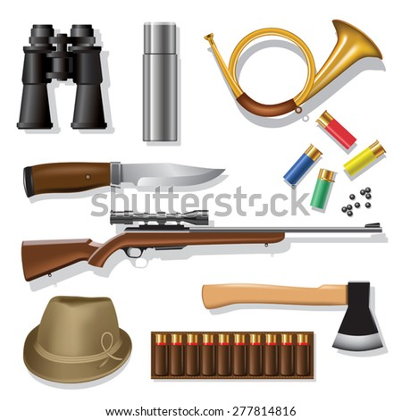 Hunting and outdoor traditional equipment over white background. Vector illustration - stock vector