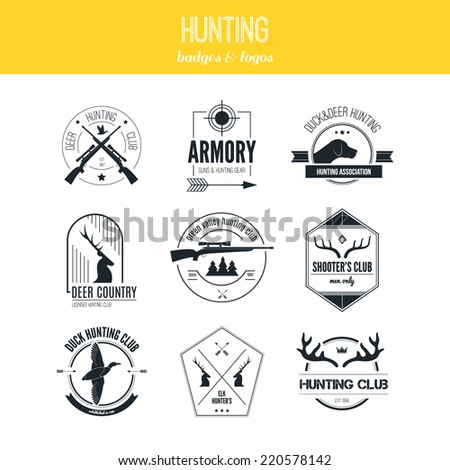 Hunting club label collecton made in vector. Shooting, prey, gun, antler, hunting dog, duck, taret, armore elements and labels design.   - stock vector